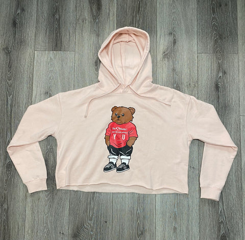 "Light pink Bear Sweatshirt ""The 🌎 wouldn't spin the same without Y❤️U"""