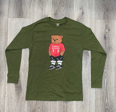 "Green Bear Longsleeve T-Shirt  ""The 🌎 wouldn't spin the same without Y❤️U"""