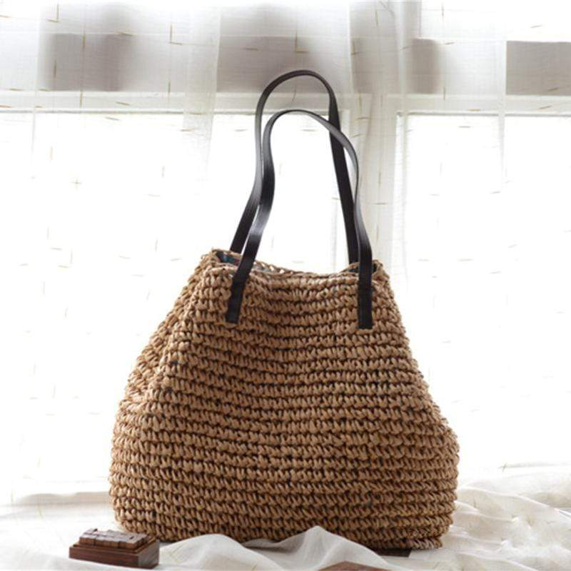 Obangbag Brown Women Summer Stylish Straw Woven Large Beach Tote Bag