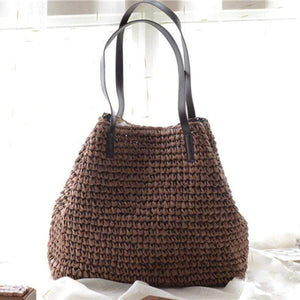 Obangbag Coffee Women Summer Stylish Straw Woven Large Beach Tote Bag