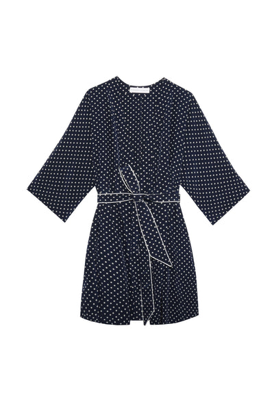Emma Robe in Navy/White Silk Dot