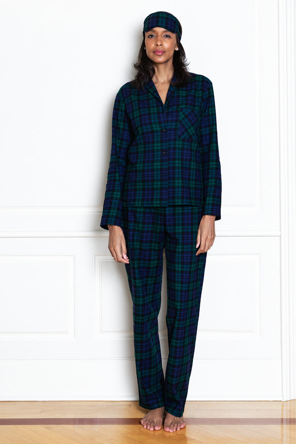 flannel blackwatch tartan pajamas on model from front