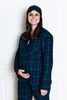 flannel blackwatch tartan pajamas on 7 month pregnant model