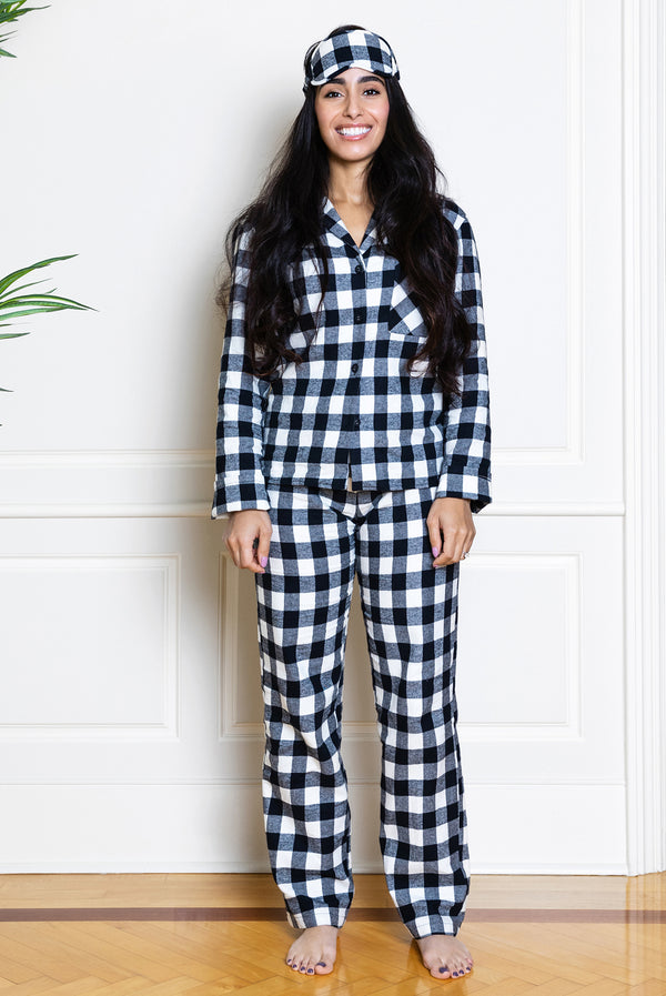 flannel buffalo check pajamas on model from front