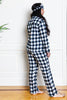 flannel buffalo check pajamas on model from back