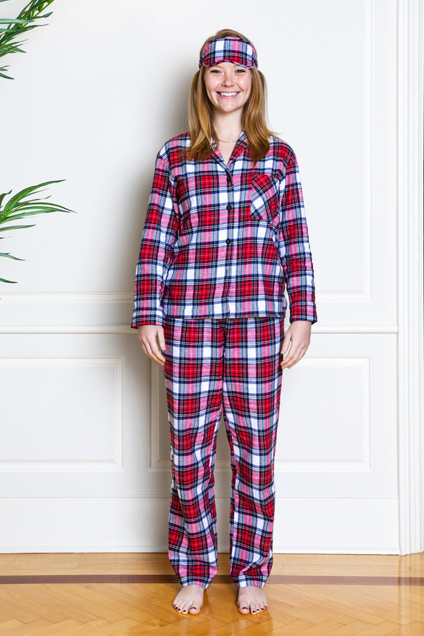 flannel red tartan pajamas on model from front