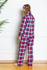 flannel red tartan pajamas on model from back