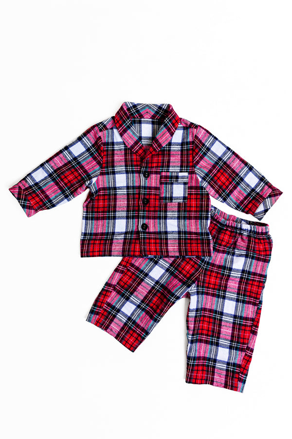 KIDS PLAYSUIT - RED TARTAN