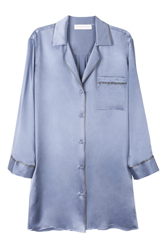 Silk nightshirt in bluestone