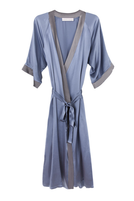 Long silk robe in bluestone