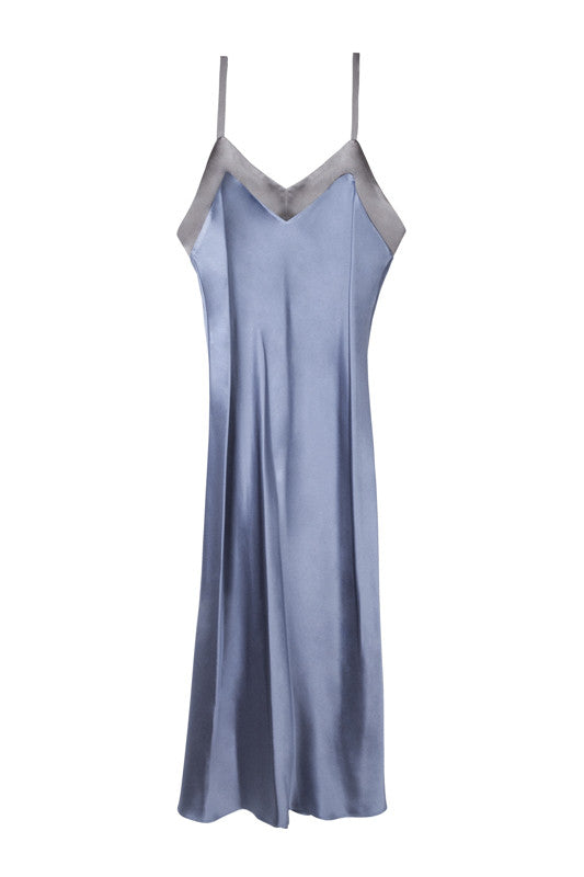 Long silk chemise in bluestone