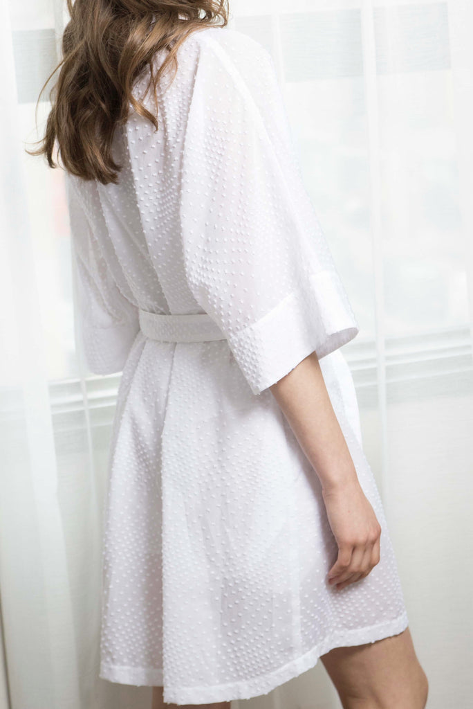 EMMA COTTON ROBE - WHITE