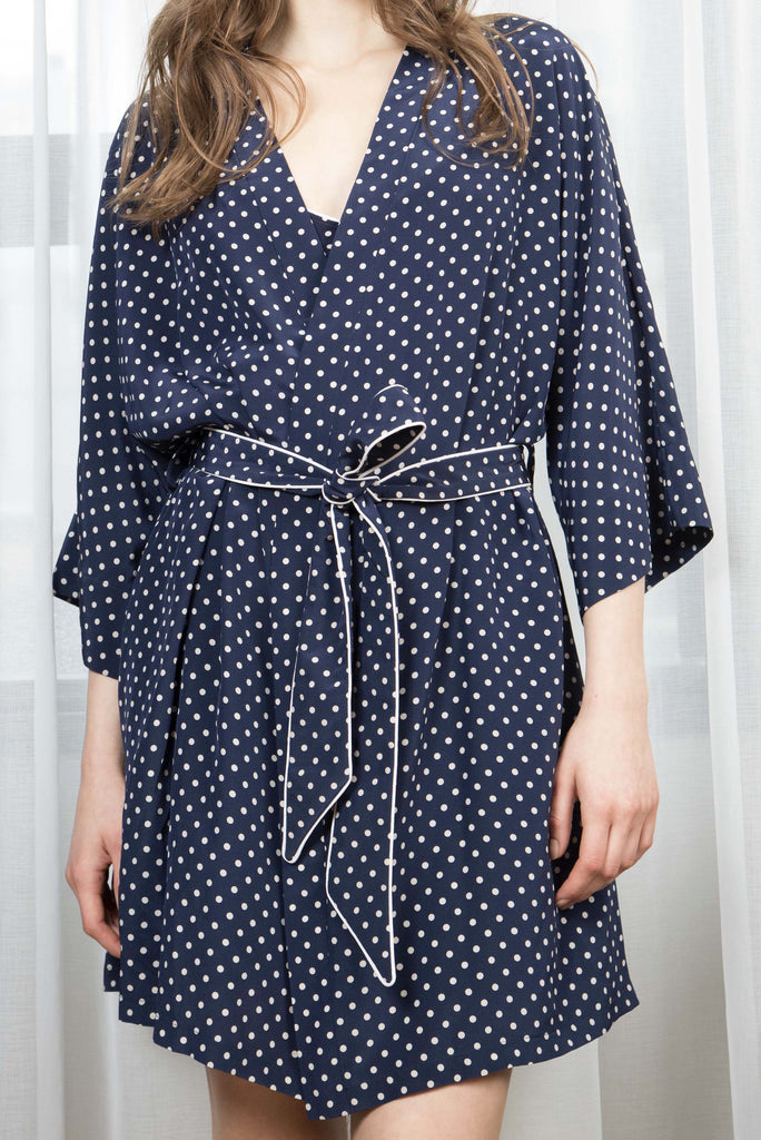 EMMA SILK ROBE - NAVY DOT