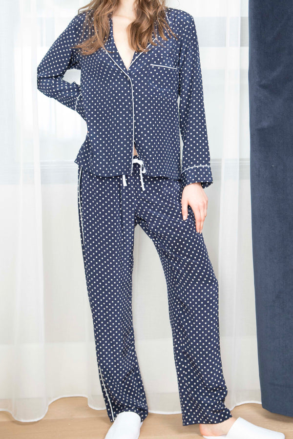 BLAIR TOP & ALLISON PANTS SILK PJ SET - NAVY DOT