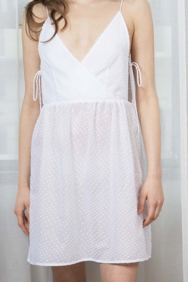 MACKENZIE COTTON X-FRONT DRESS - WHITE