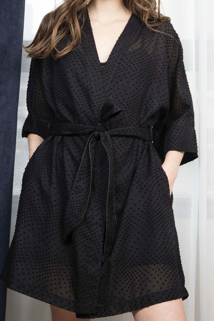 EMMA COTTON ROBE - BLACK