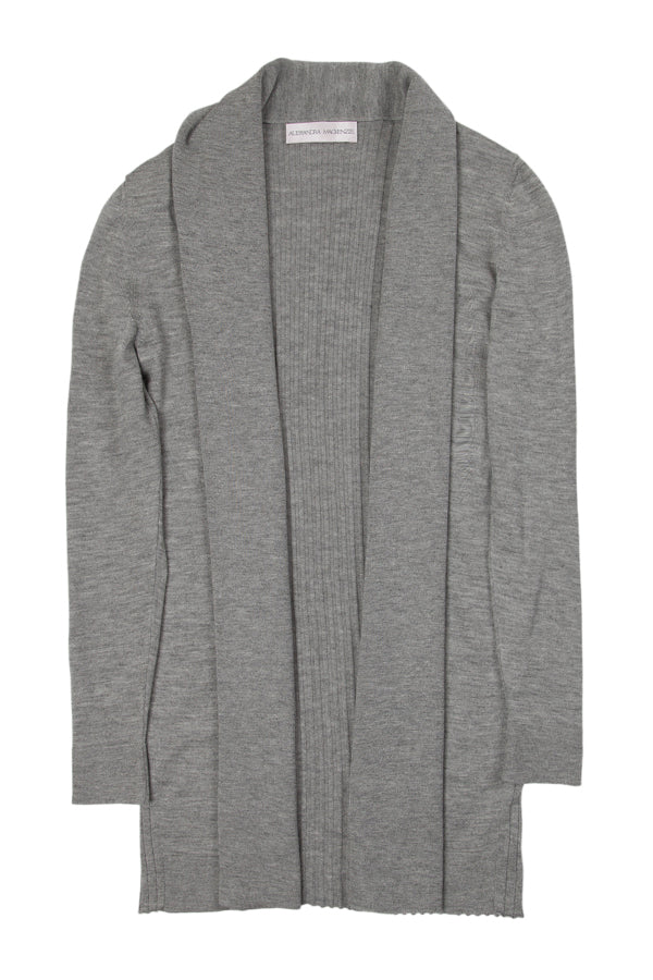 LAUREN LONG SILK & CASHMERE CARDIGAN - GREY