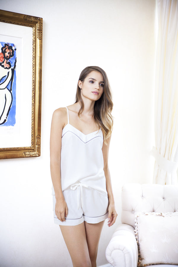 Marisa Silk Camisole in Ivory on model