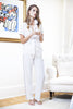 Sandi Short-Sleeved Silk Pajama Shirt in Ivory on model