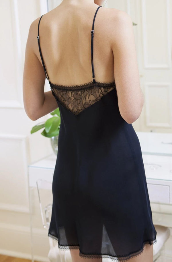 Silk & Lace Chemise in Black on model