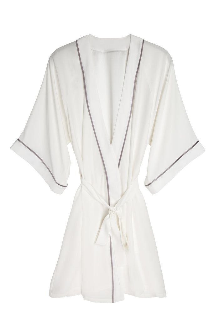 Grace Short Silk Robe in Ivory