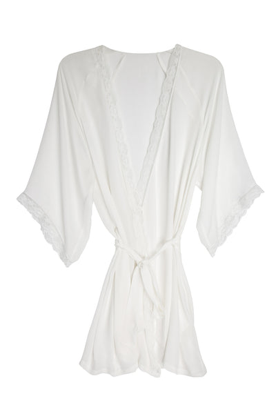 Silk & Lace Robe in White