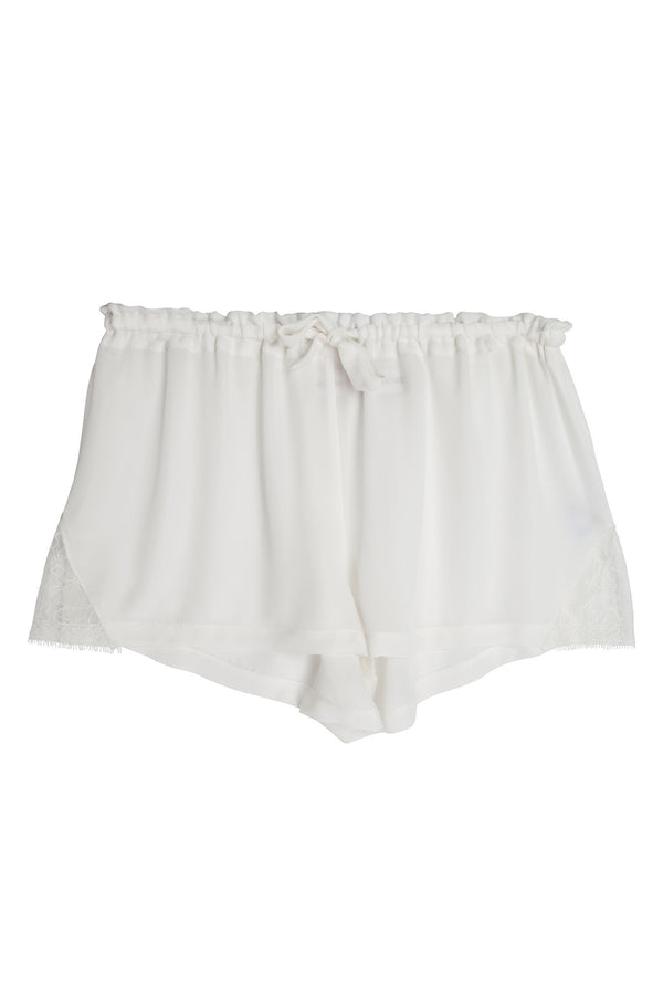 Silk & Lace Shorts in White