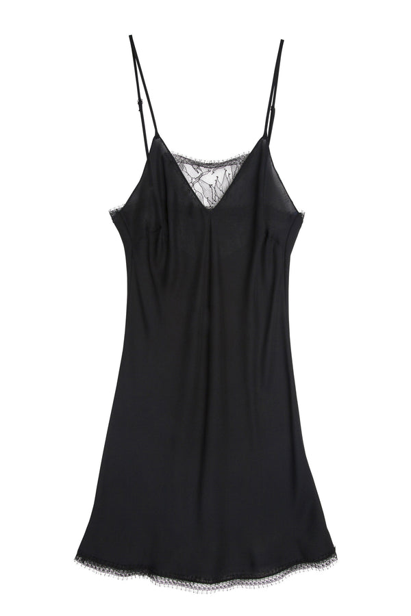 Silk & Lace Chemise in Black