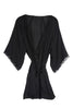 Silk & Lace Robe in Black