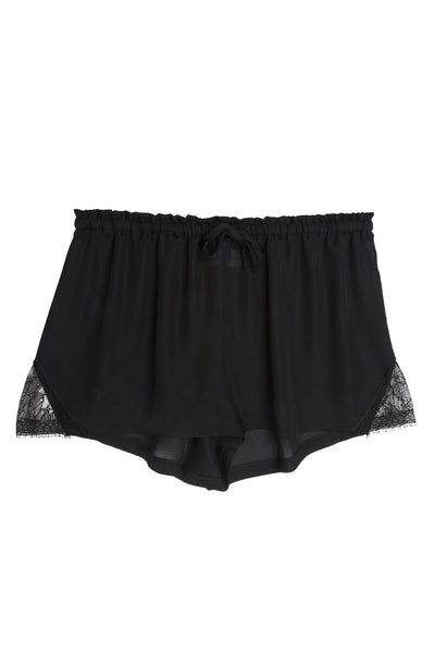 Silk & Lace Shorts in Black