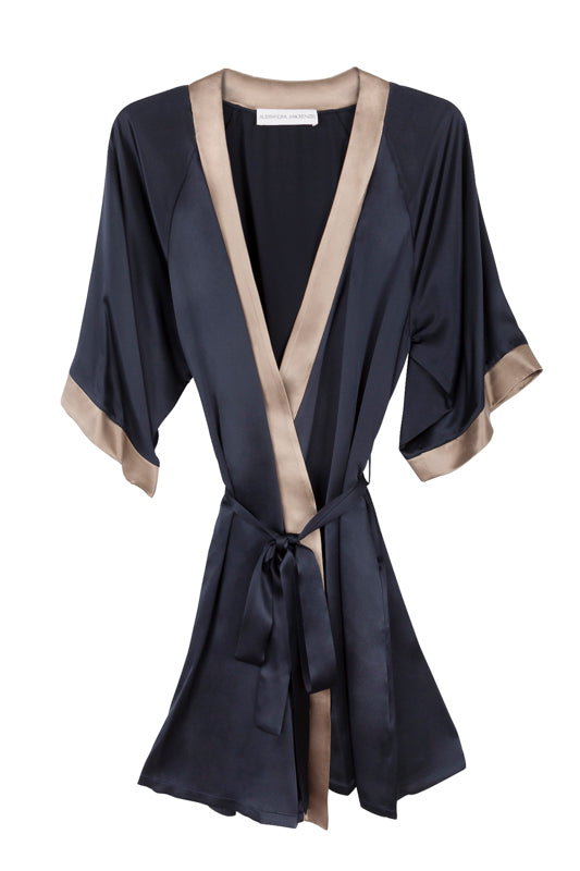 GRACE MIDNIGHT/CAMEL SHORT ROBE
