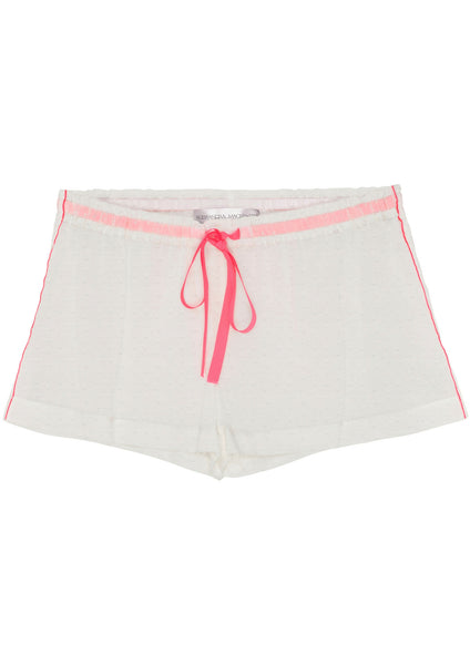 Julia Shorts in White Swiss Dot