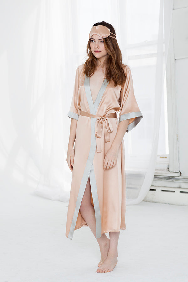 MILLIE MIDNIGHT/CAMEL LONG ROBE