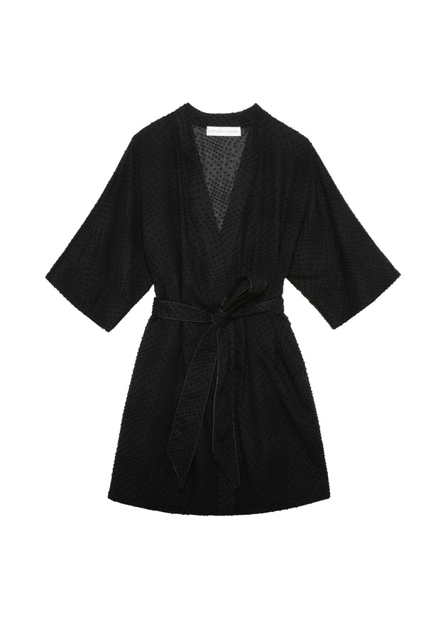 Emma Black Swiss Dot Robe