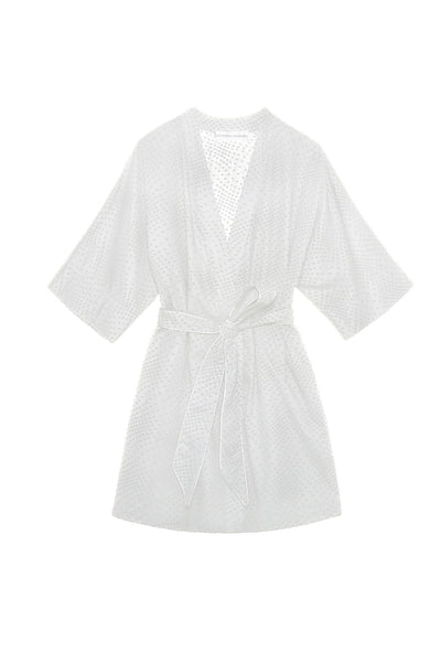 Emma Robe in White Swiss Dot