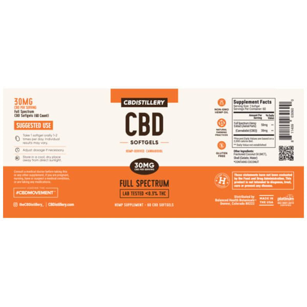 CBDistillery  Full Spectrum CBD Softgels 60ct - 30mg