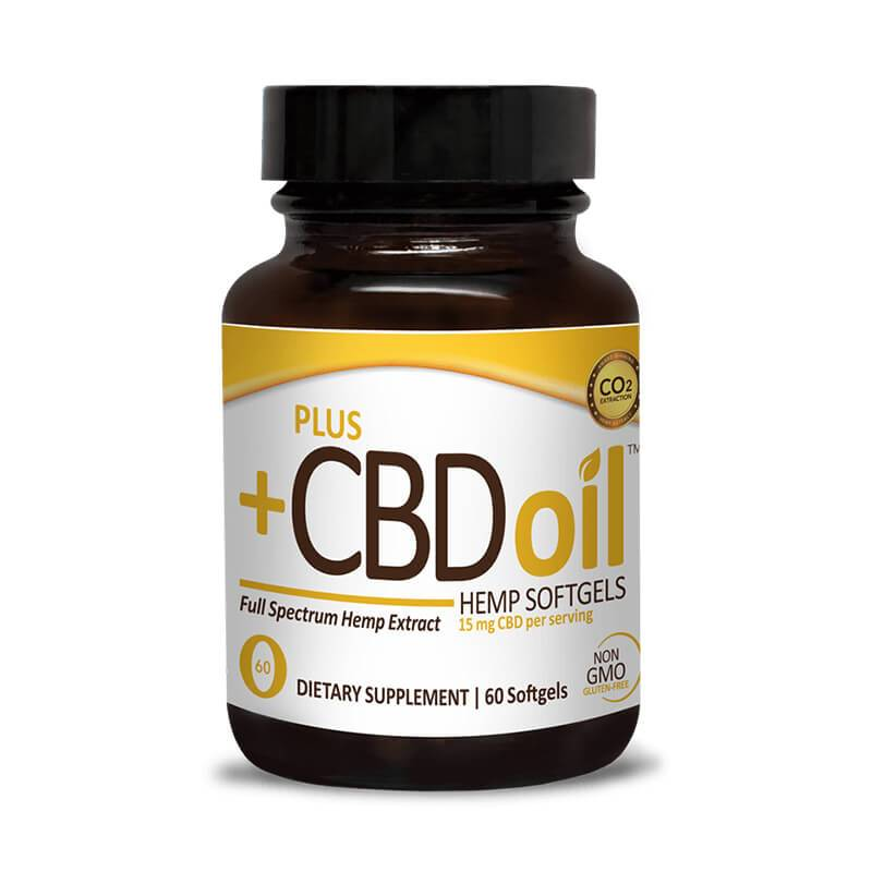 PlusCBD Oil Gold Blend Full Spectrum CBD Softgels 15mg 60 count