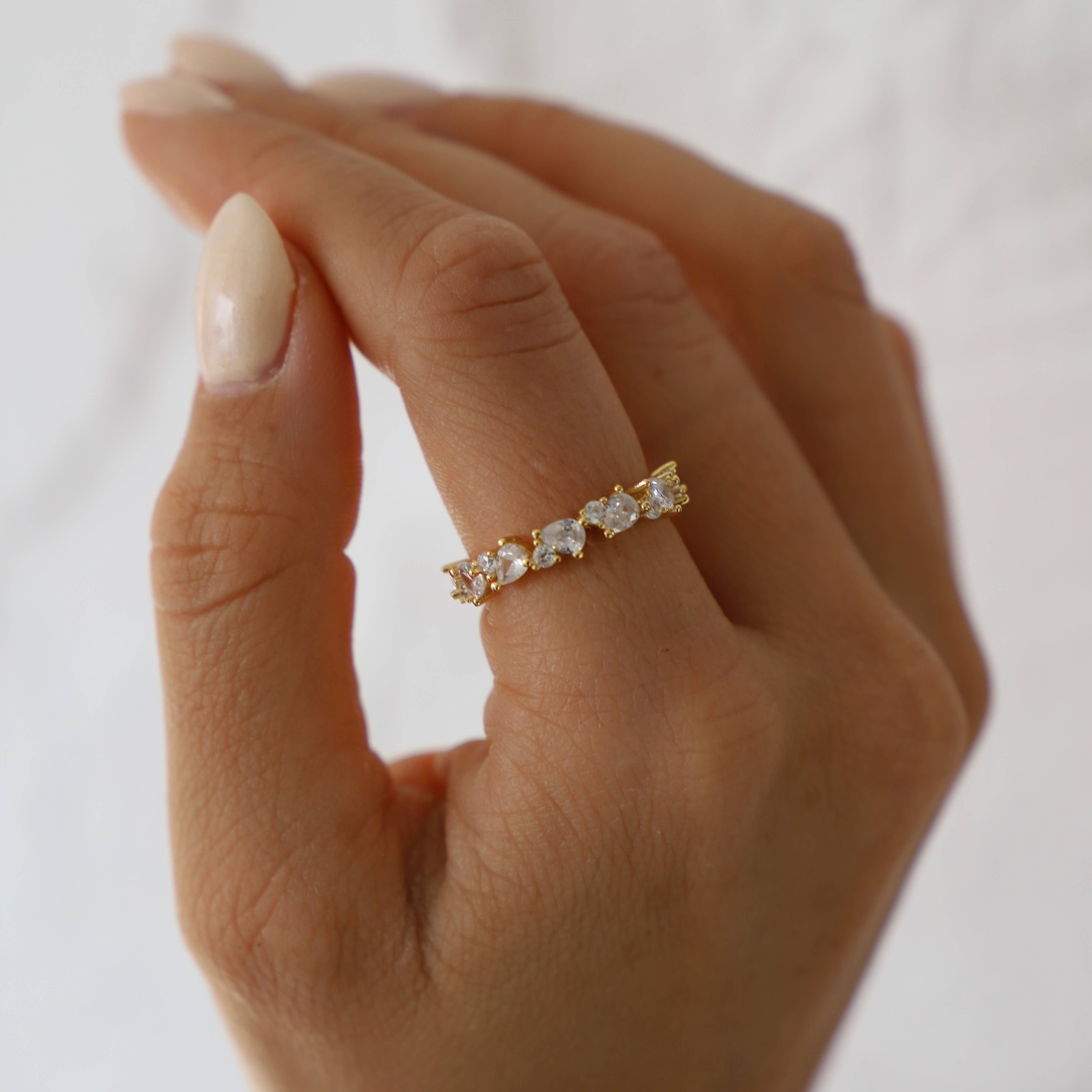 CUBIC ZIRCONIA CLUSTER ETERNITY BAND