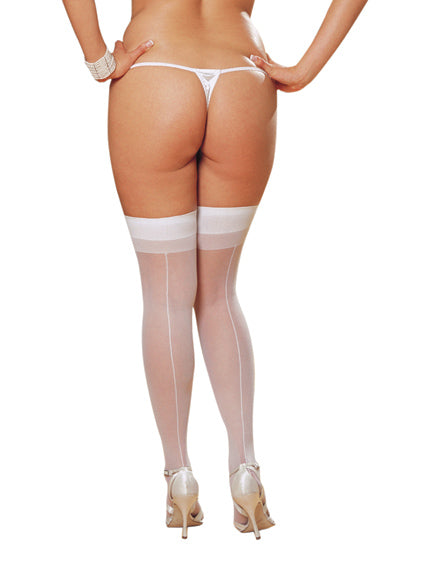 Thigh High Sheer White Stockings size Queen from Dreamgirl Lingerie