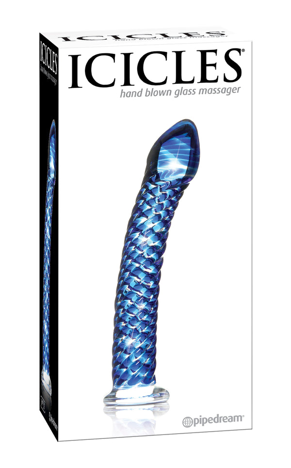 Icicles # 29 Hand Blown Glass Blue Dildo