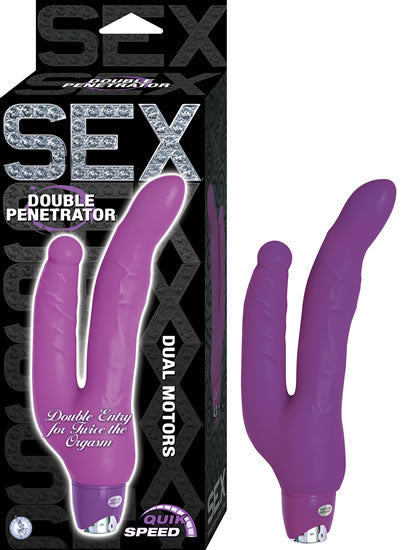 Sex Double Penetrator Purple Vibrating Dildo