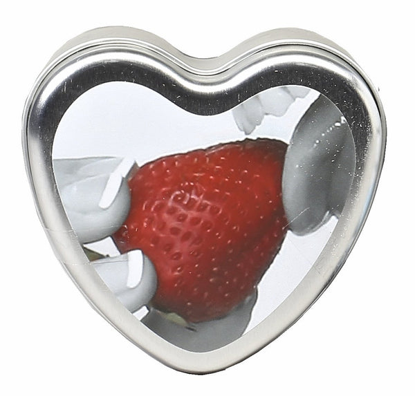 Earthly Body Candle 3-in-1 Heart Edible Candle Strawberry  4 Oz