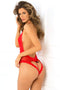 Rene Rofe Open Back Lace and Net Teddy Red S/M
