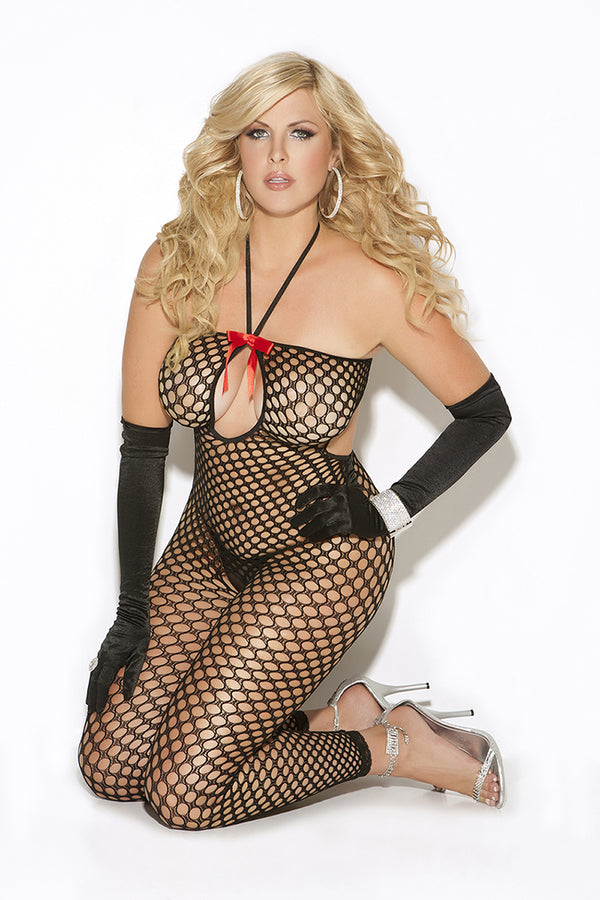 Elegant Moments Lingerie Hosiery Vivace Crochet Body Stocking Black Plus Size Queen