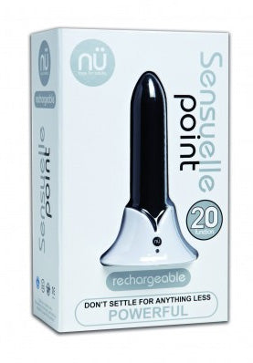 NU Sensuelle Point 20-Function Rechargeable Silicone Bullet Vibrator Black