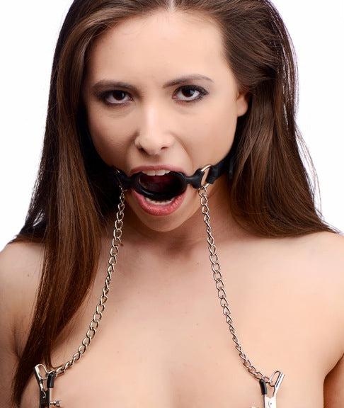Master Series Mutiny O-Ring Gag with Nipple Clamps