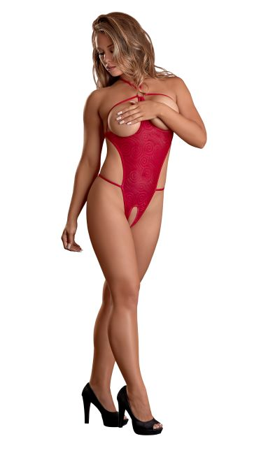 Exposed Cupless Teddy Swirl Red 2X Magic Silk Lingerie