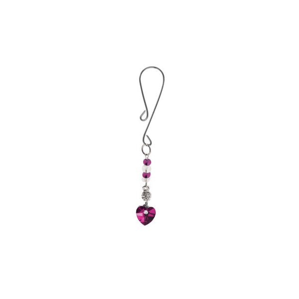 BIJOUX DE CLI LOOP W/ HEART CHARM & FUSCHIA BEADS