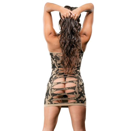 Naughty Girl Camo Dress One Shoulder O/S from Beverly Hills lingerie