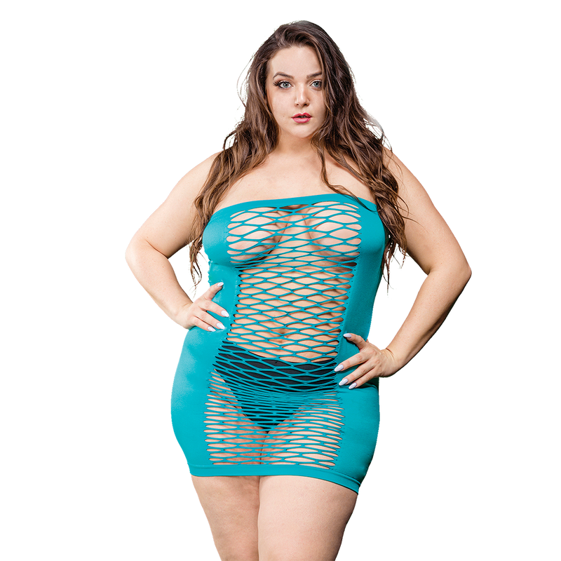 Naughty Girl Solid Mesh Tube Dress Turquoise Curvy Size from Beverley Hills Lingerie line